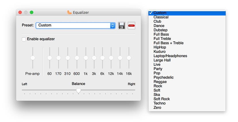 Equalizer and presets in Clementine Music Player