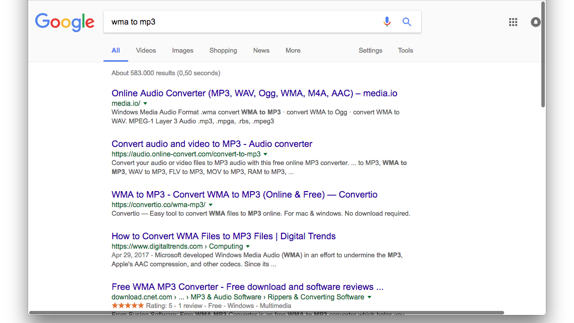 Google search results for 'wma to mp3'