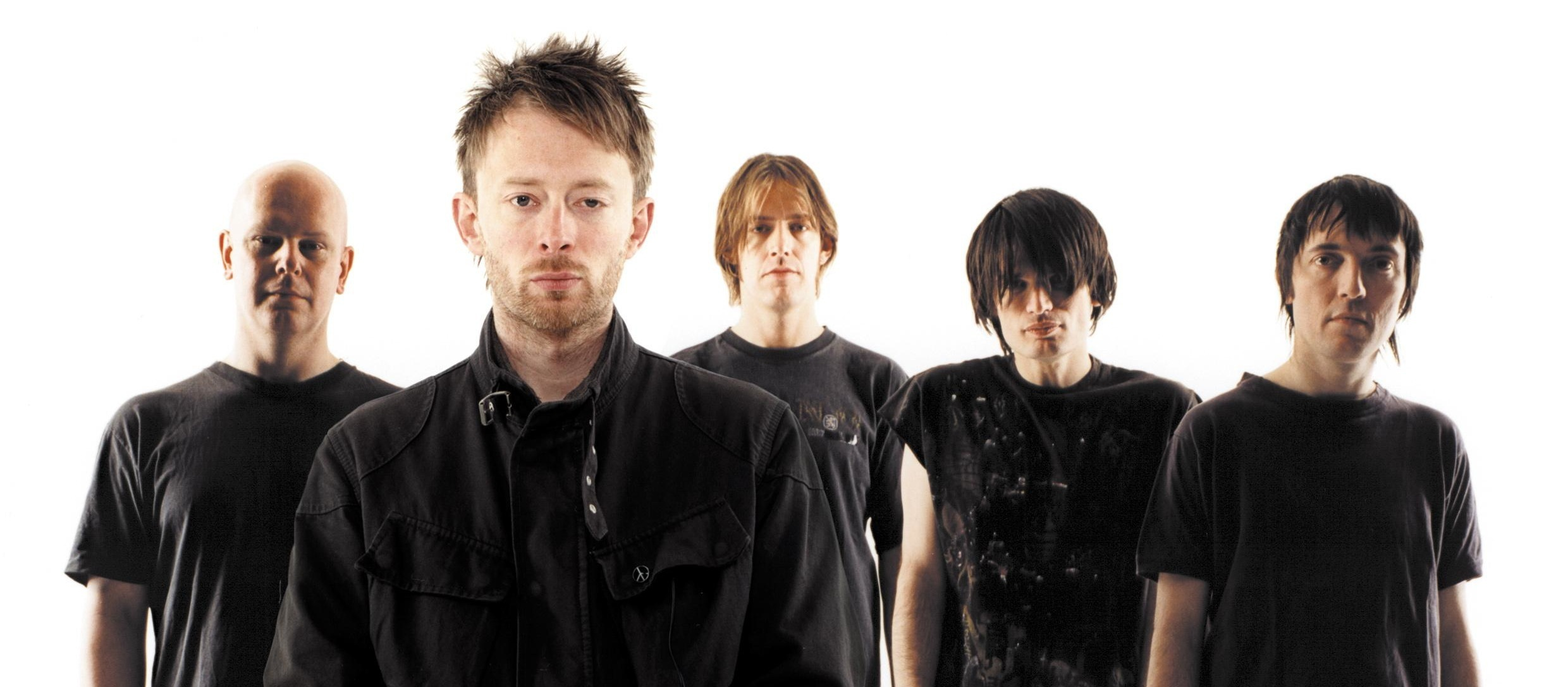 Radiohead band members: Phil Selway, Thom Yorke, Ed O'Brien, Jonny Greenwood, and Colin Greenwood,