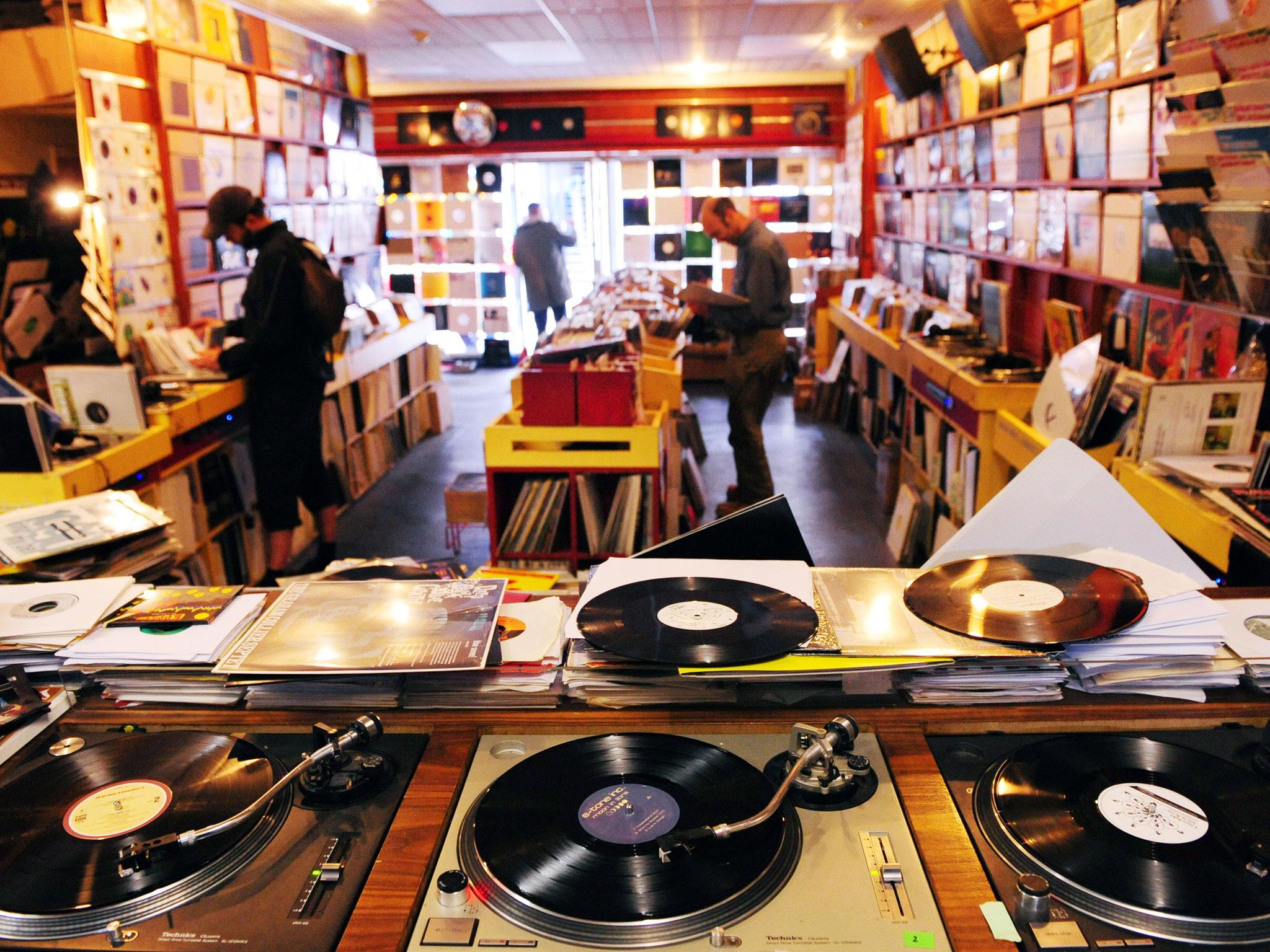 Vinyl records store
