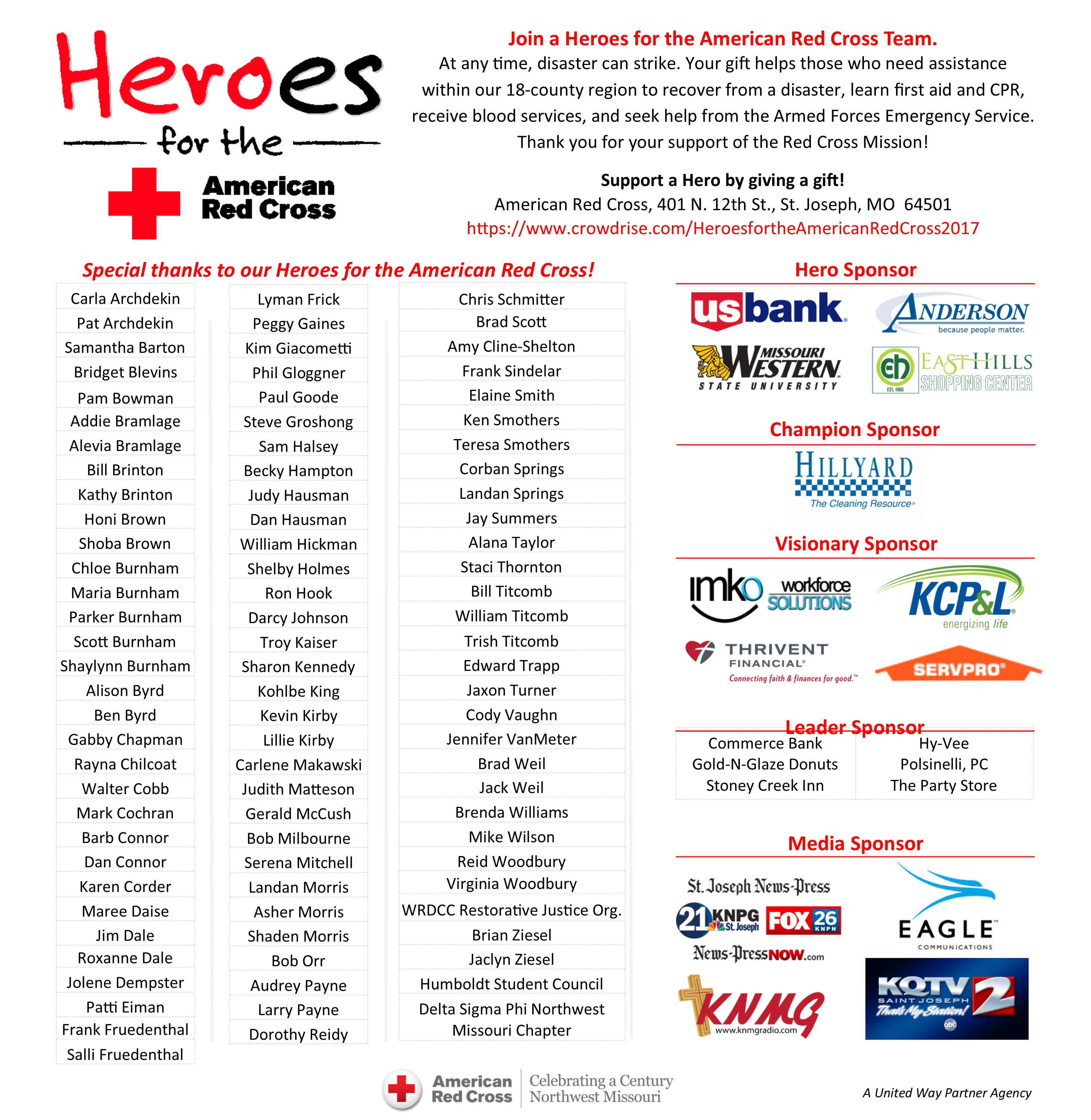 HEROES FOR THE AMERICAN RED CROSS 2017 Photo