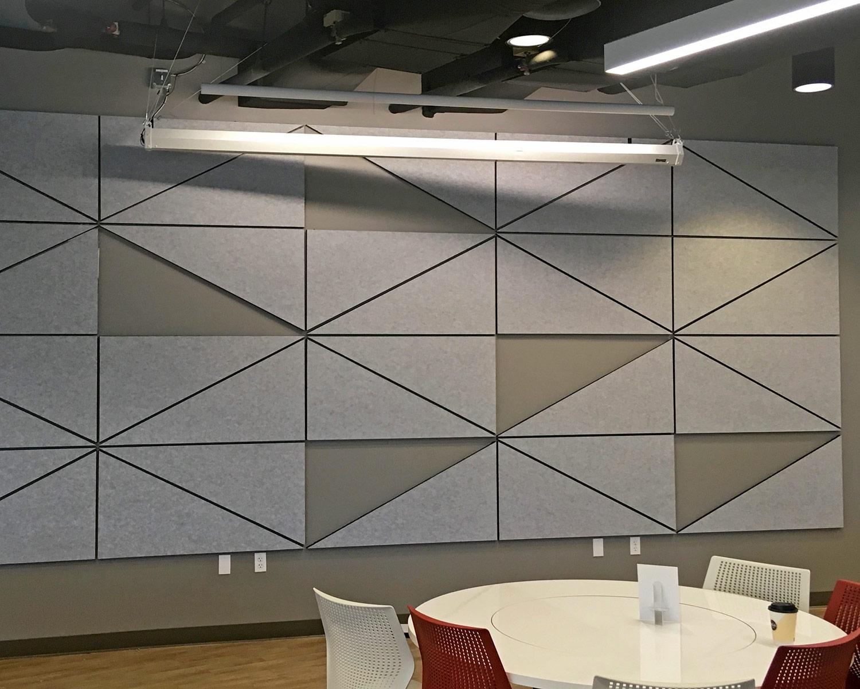 Wall Fabric Wrapped Grey Triangles Portfolio