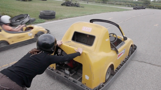 Bettina pushing the go kart