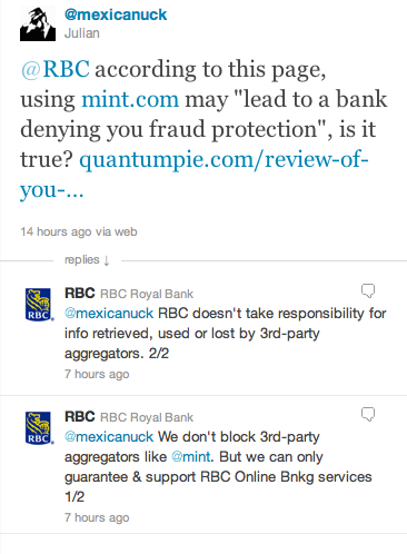RBC confirms they do not offer fraud protection for aggregator services like Mint