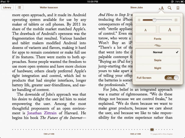 New full-screen mode in iBooks