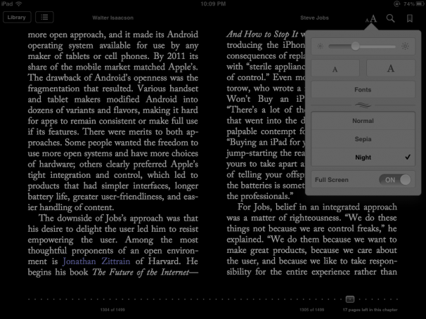 The new night mode in iBooks.