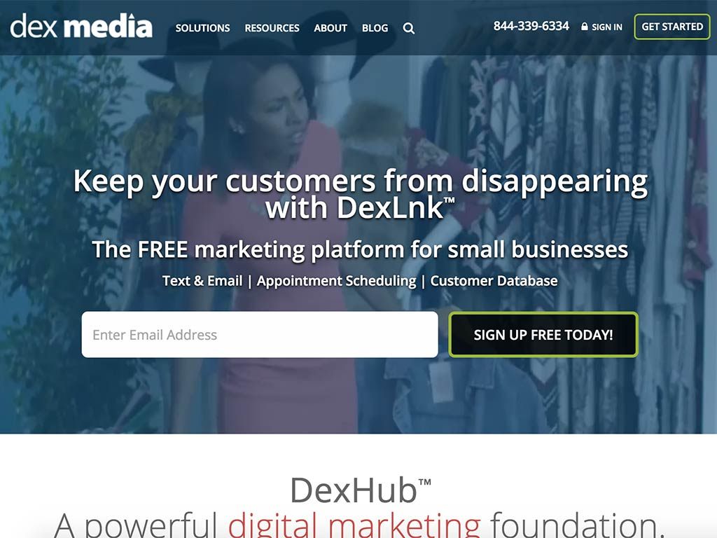 The web page of Dex Media™