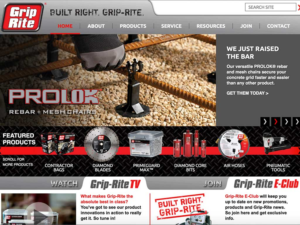 The home page of Grip-Rite™