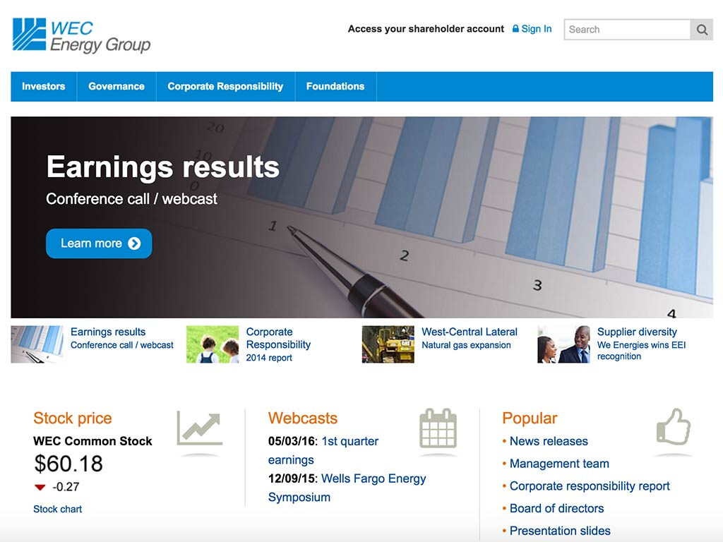 The web site of WEC Energy Group