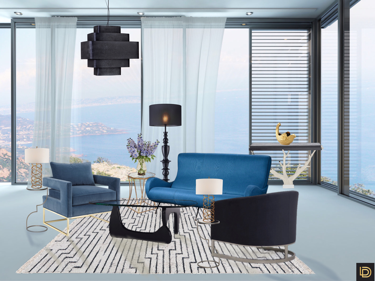 the designer used dwr brand furniture to design a modern room the designer also used the color red and black to be a contrast and showed the
