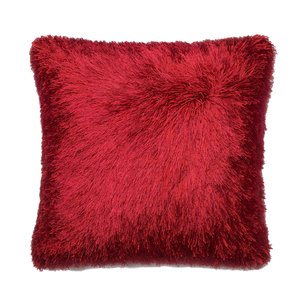 The Cosmo Shag Loloi Red Pillow Made From 100% Rayon Silk