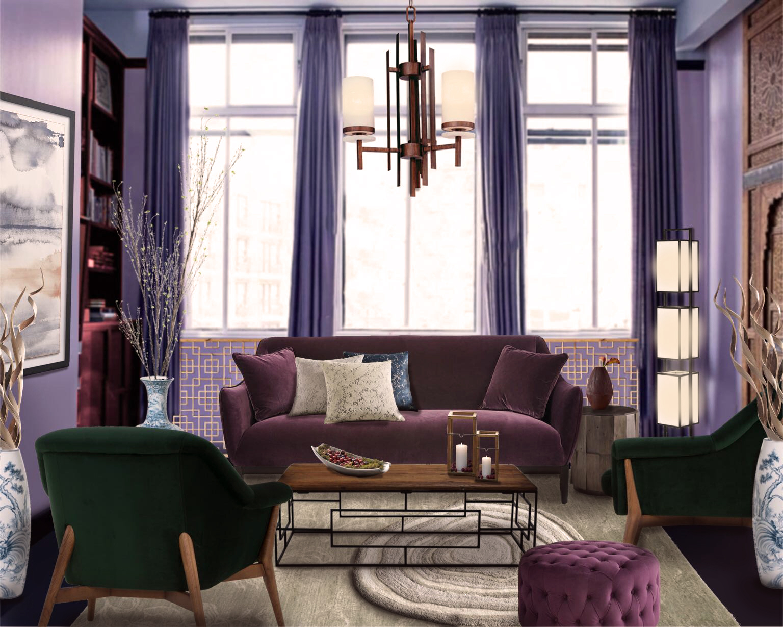 The color of 2018 - Ultra violet: living room design from interior designers using decor matters - AR Home Design App
