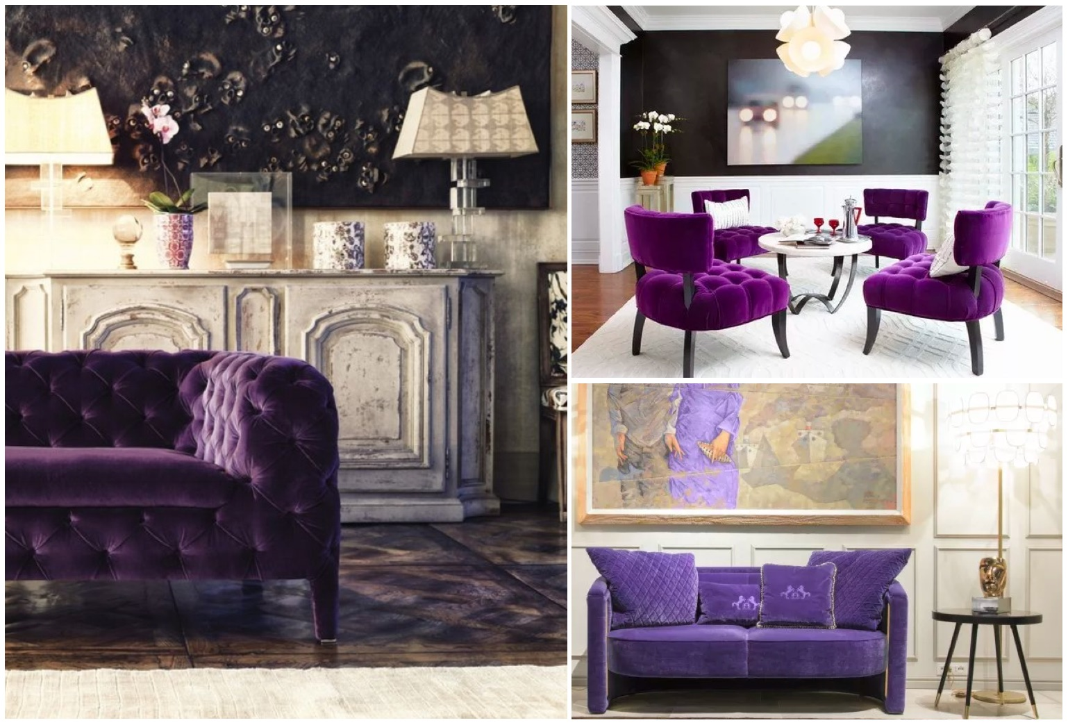The color of 2018 - Ultra violet: ultra violet color sofa for living room and family room