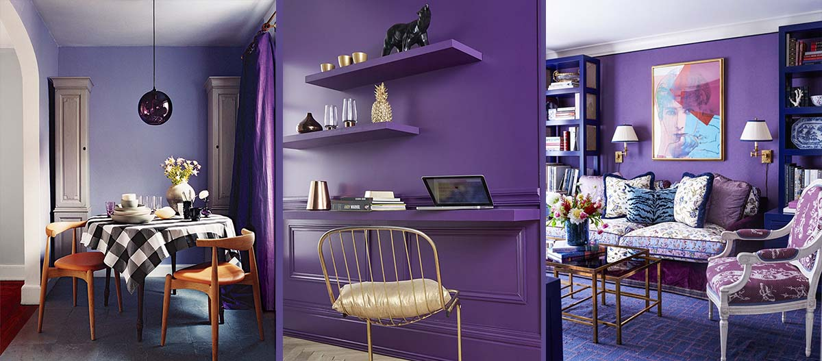 The color of 2018 - Ultra violet: ultra violet color for accent wall small space