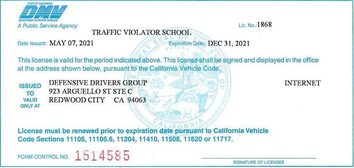 California DMV Licensed Web Traffic School