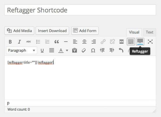 Reftagger Shortcode - Screenshot 1