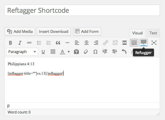 Reftagger Shortcode - Screenshot 3