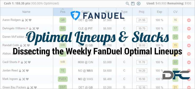 NFL Week 16: FanDuel Optimal Lineups & Stacks