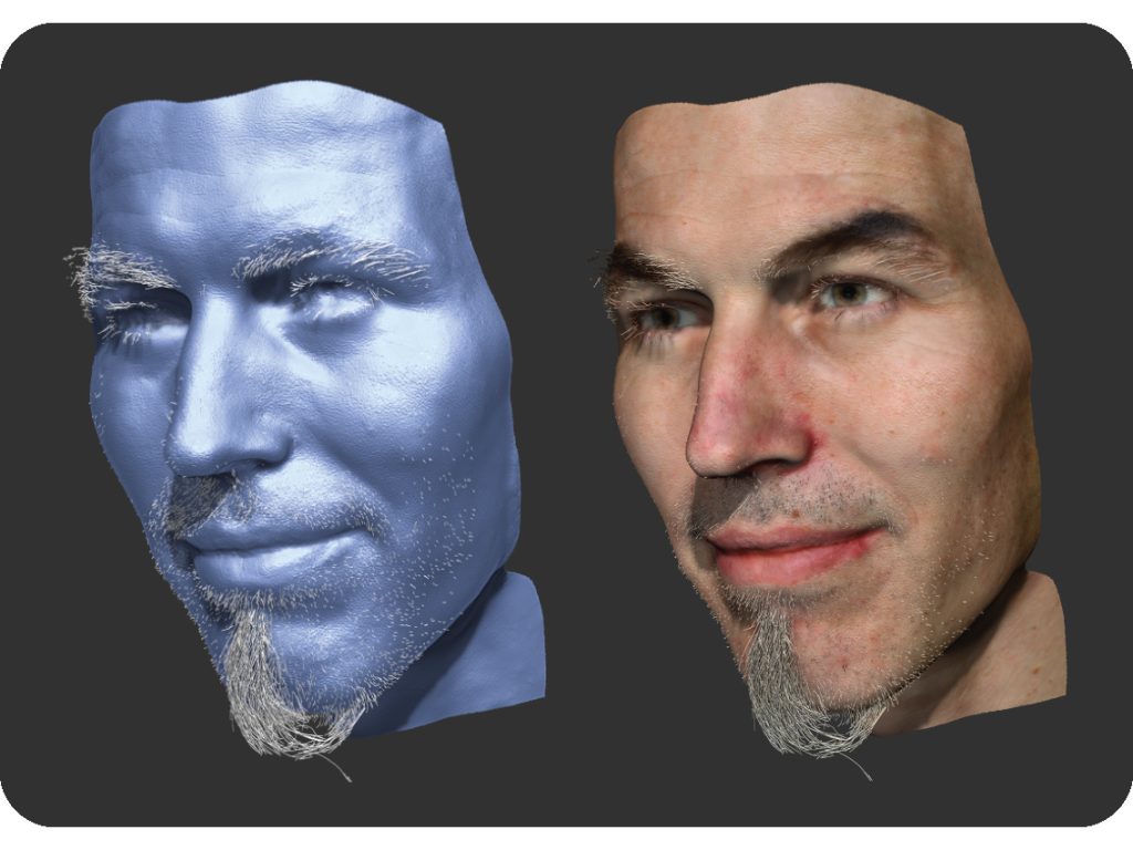 Coupled 3D Reconstruction of Sparse Facial Hair and Skin