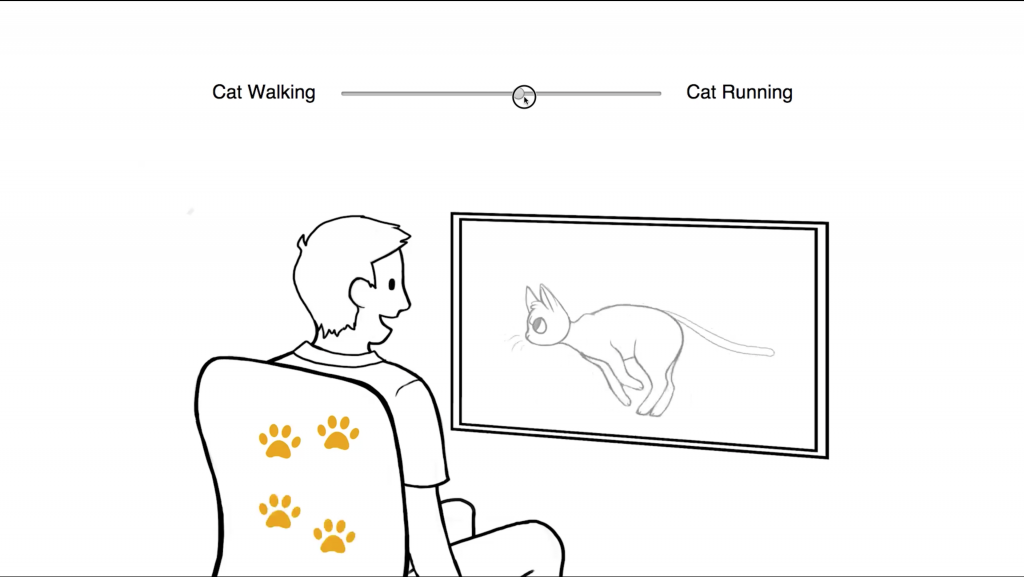 Parameter settings of feel effects are chosen for cat running in the media.