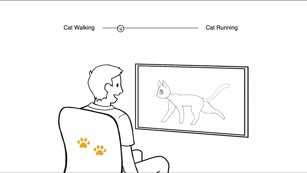 Parameter settings of feel effects are chosen for cat walking in the media.