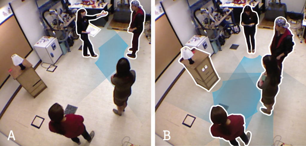 Parallel Detection of Conversational Groups of Free-Standing People and Tracking of their Lower-Body Orientation-Image