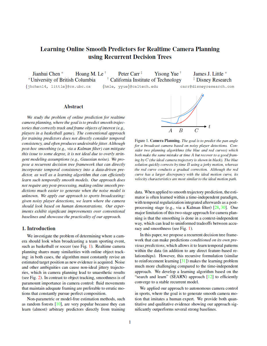 Learning Online Smooth Predictors for Realtime Camera Planning sing Recurrent Decision Trees-Thumbnail
