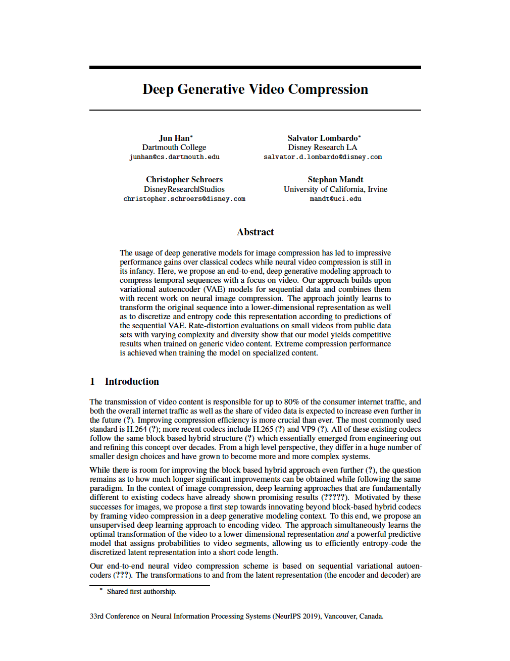 Deep Generative Video Compression