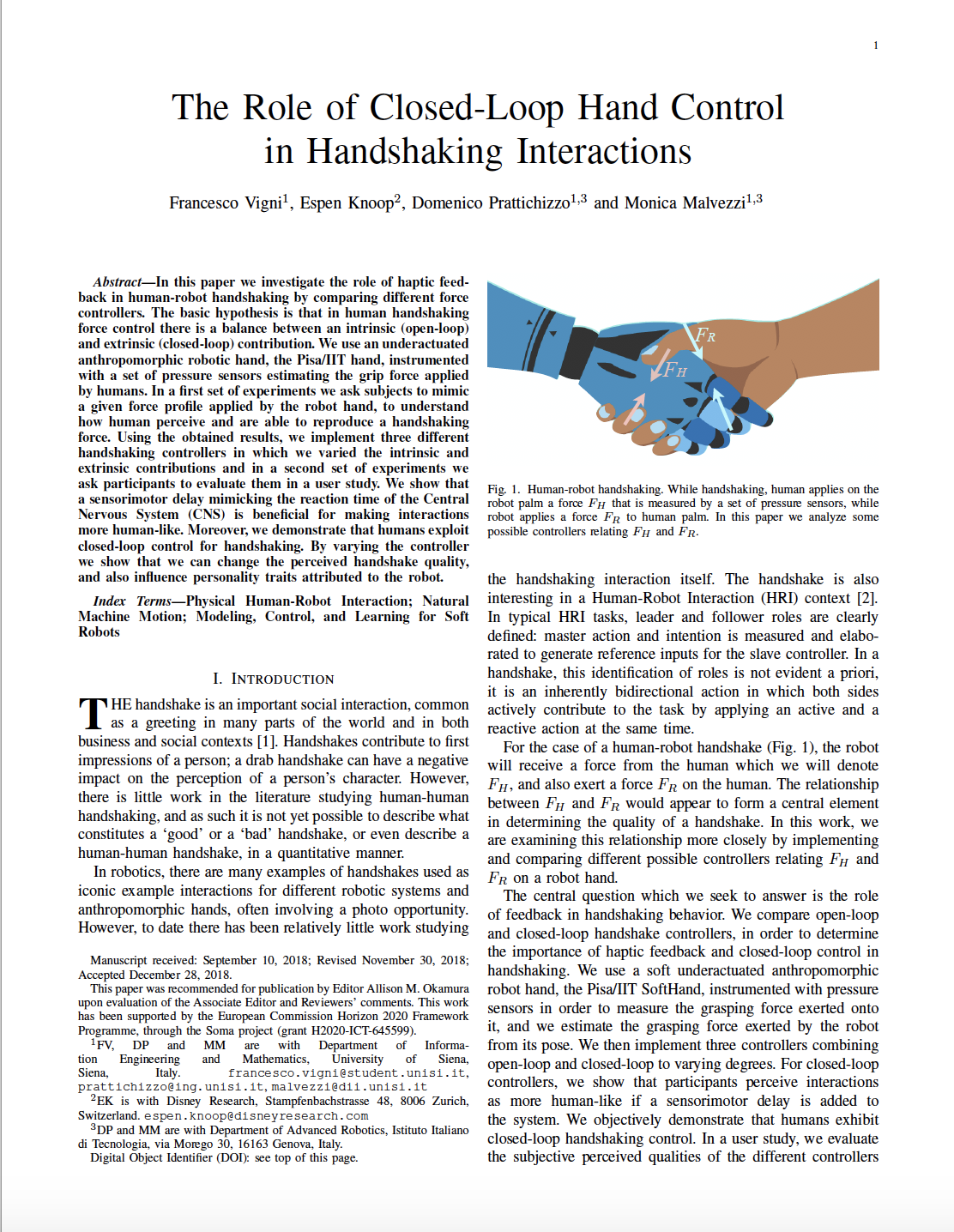 The Role of Closed-Loop Hand Control in Handshaking Interactions
