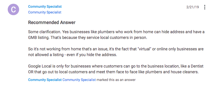 Google My Business on Home Based Business Virtual Businesses