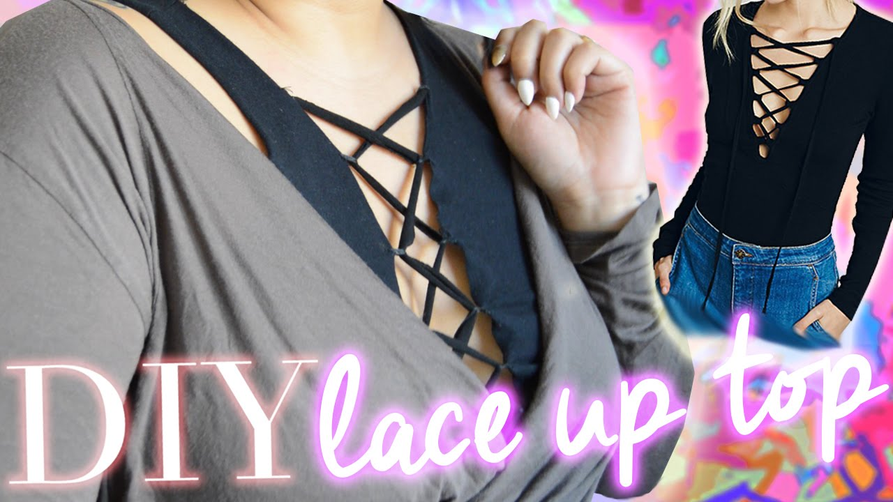DIY Lace Up Top // EASY + CHEAP FASHION DIY