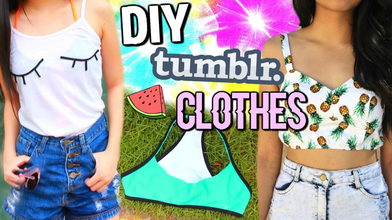 DIY TUMBLR CLOTHES WITHOUT TRANSFER PAPER   SUMMER