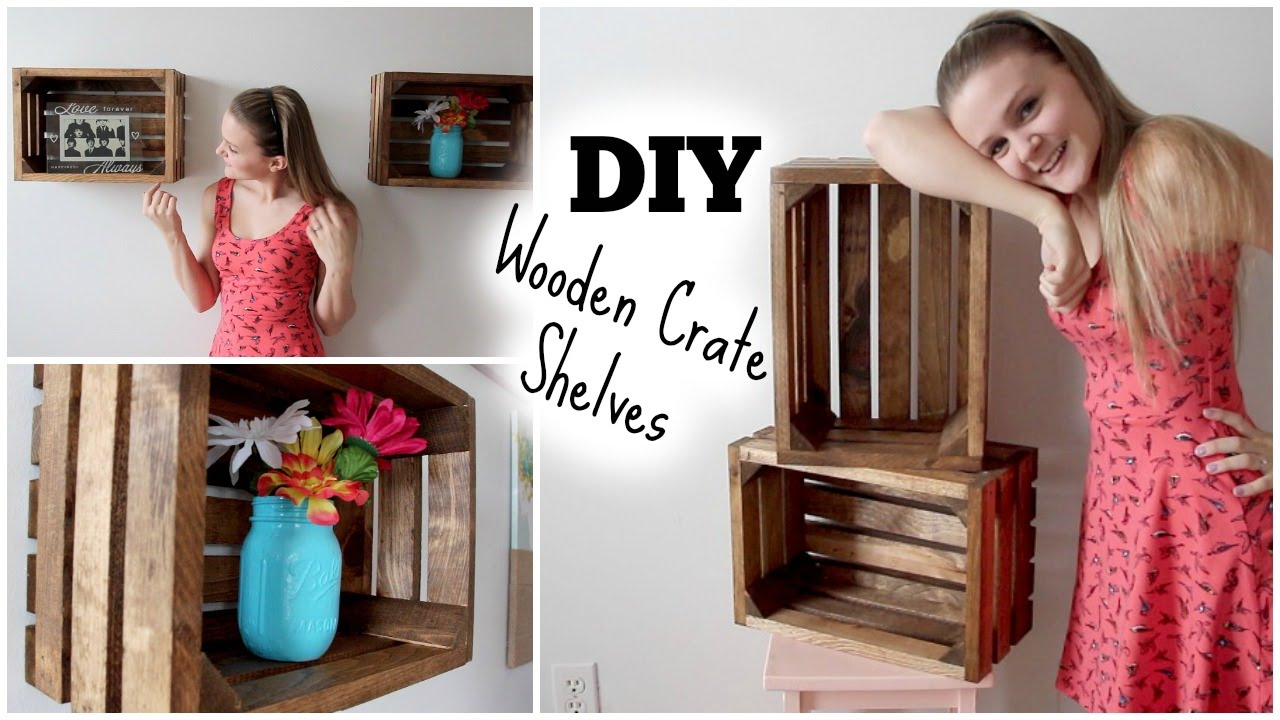 DIY Wooden Crate Shelves: Apartment Decor ❀