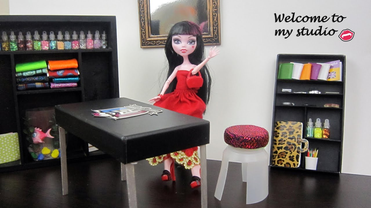 Make studio furniture Monster High Dolls:Table,chair,bookcase, etc. – Doll Crafts – simplekidscrafts