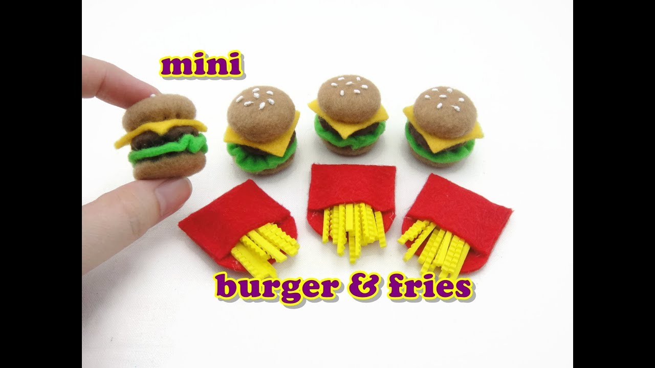 DIY Doll Accessories Mini Burger and Fries – Easy