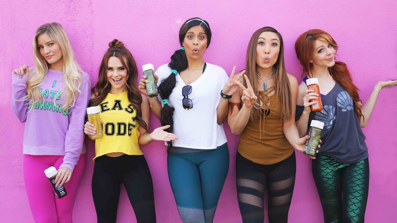 Disney Princesses Try Working Out… (ft. Lindsey Stirling, Lilly Singh, Rosanna Pansino, iJustine)