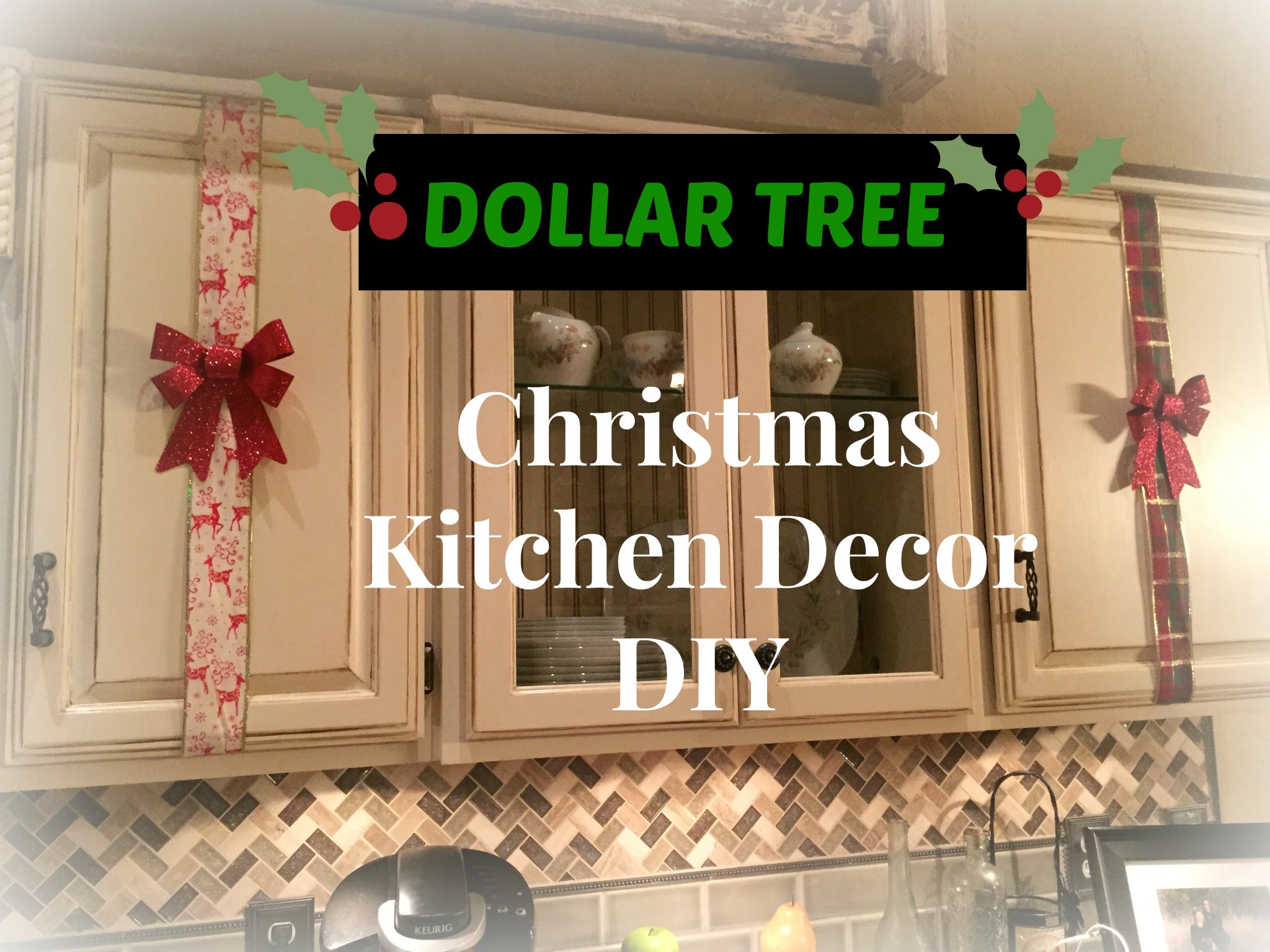 DOLLAR TREE Christmas Kitchen Cabinets Decor DIY – PLAID WEEK Day 3