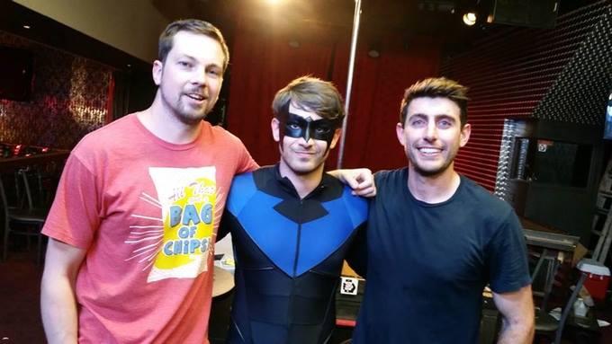 Director Matthew Campbell, star Brady Roberts, DOP Byron Kopman working hard on set of Nightwing: The Darkest Knight!