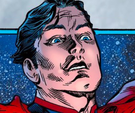 Next to the flight panel, the contrast is stark. Is Superman surprised? Aging?