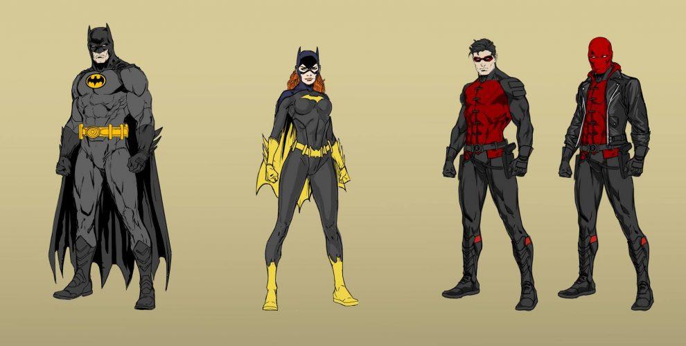 Designs for Batman, Batgirl and Red Hood in 'Three Jokers'
