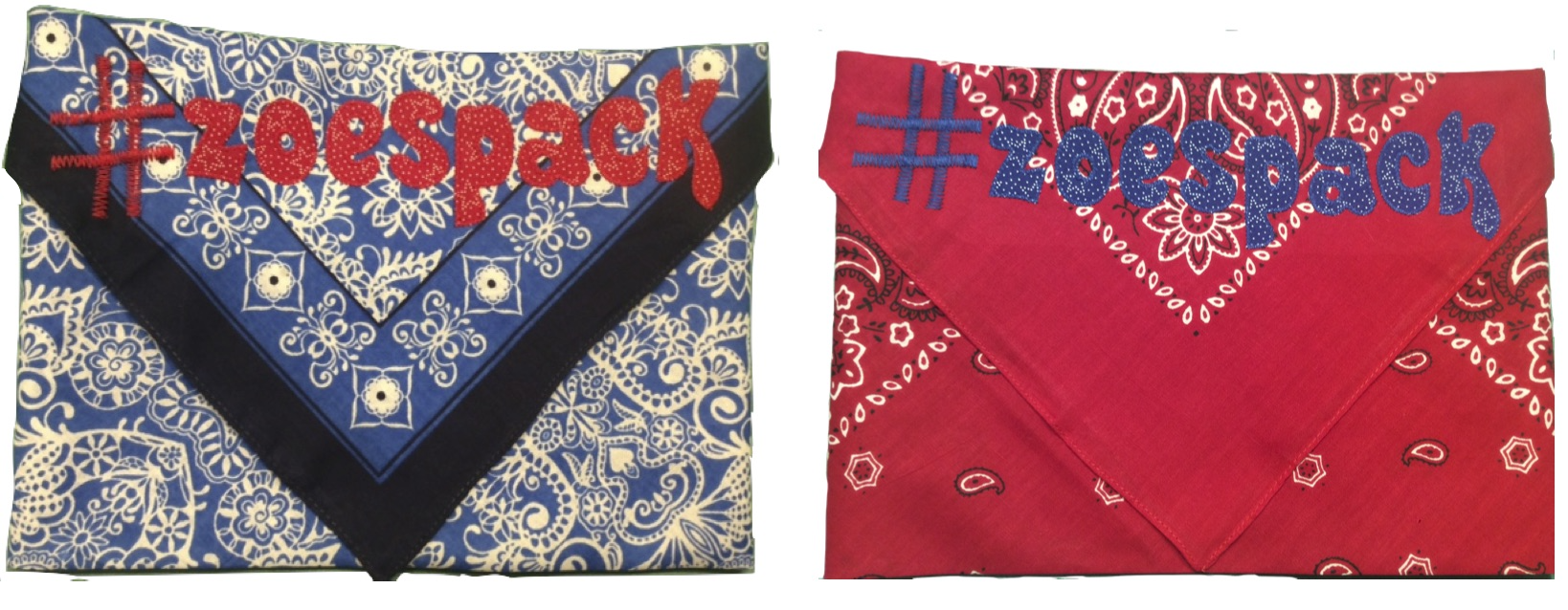 Two embroidered #Zoespack bandanas, left one is blue paisley background with a black edge. Right one is red background with white paisley pattern.