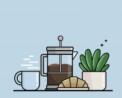 ابريق قهوه  ،كرواسان،شجره ،كوب قهوه