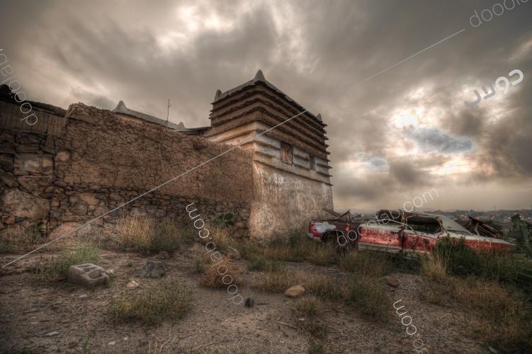 صورة تراثيةلإحدى المنازل بمنطقة عسير
