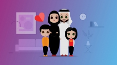 Arab Family vector illustration