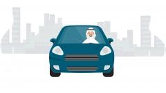 رسم لرجل سعودي يقود السيارة