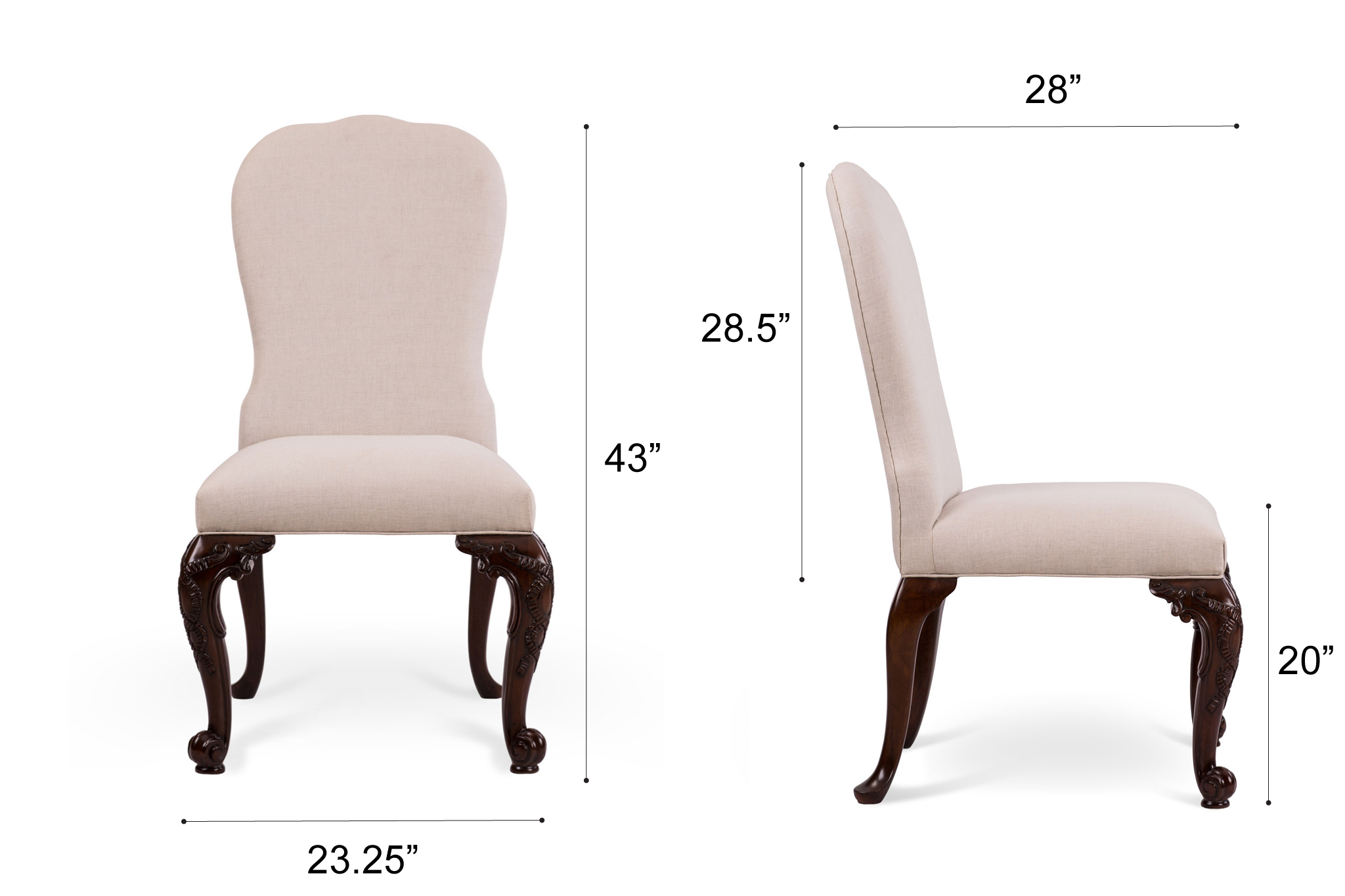 Dowel Furniture Maria Chair Dimensions