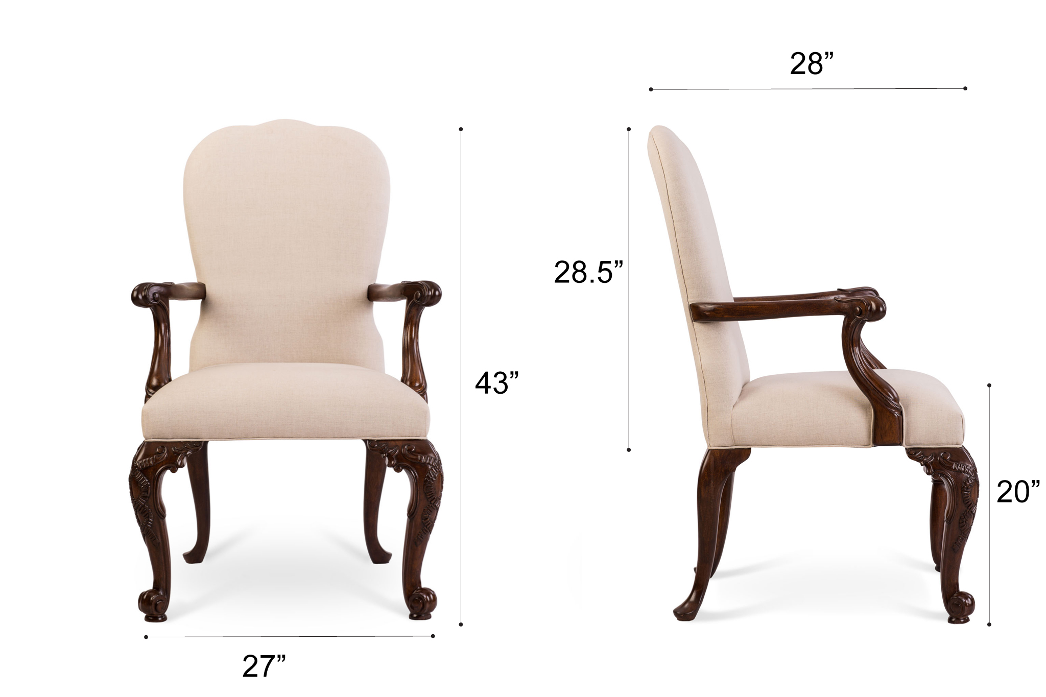 Dowel Furniture Marie Armchair Dimensions