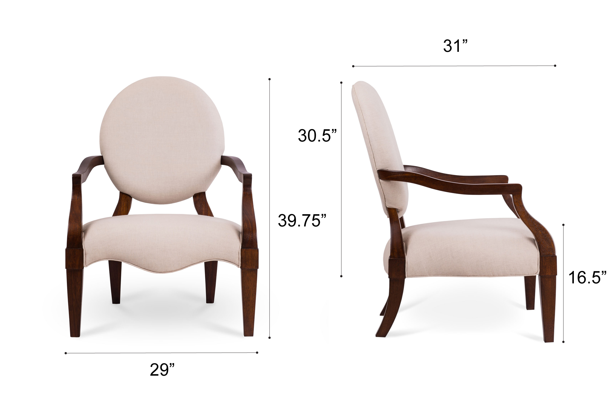 Dowel Furniture Bea Armchair Dimensions
