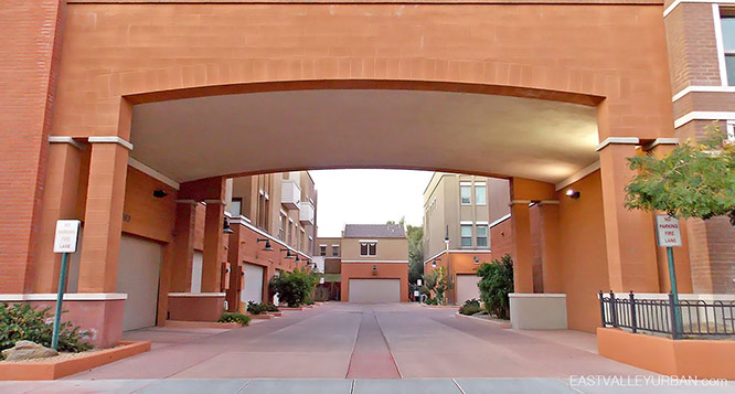 Brownstone at Hyde Park in Tempe view of garages through an archway