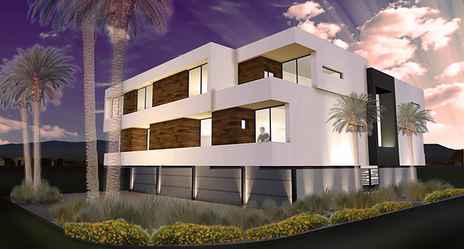 Exterior rendering of MZ Living development in Scottsdale